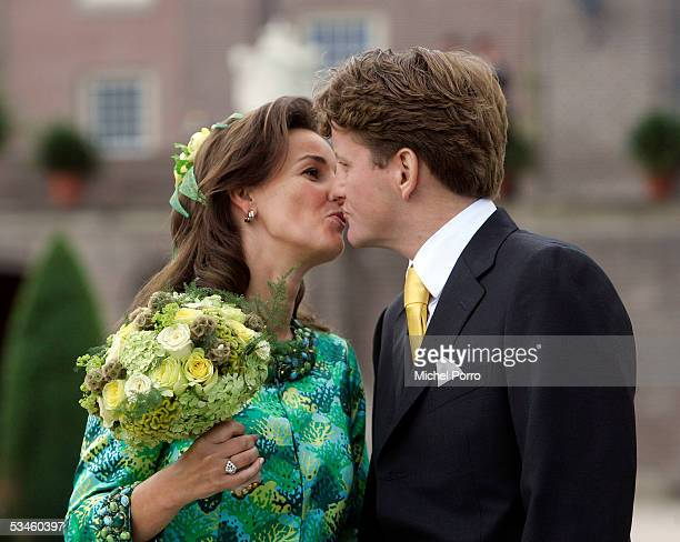 Dutch Prince Pieter Christiaan and Anita van Eijk kiss after the civil wedding ceremony at The Loo Palace on August 25 2005 in Apeldoorn The...