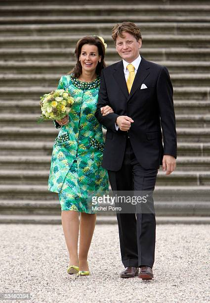 Dutch Prince Pieter Christiaan and Anita van Eijk leave after the civil wedding ceremony at The Loo Palace on August 25 2005 in Apeldoorn The...