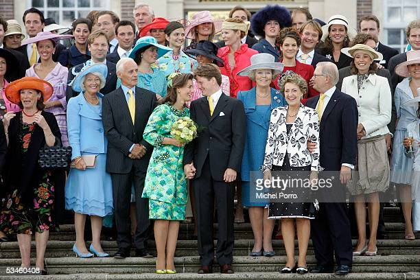 Dutch Prince Pieter Christiaan and Anita van Eijk pose with family and friends after the civil wedding ceremony at The Loo Palace on August 25 2005...