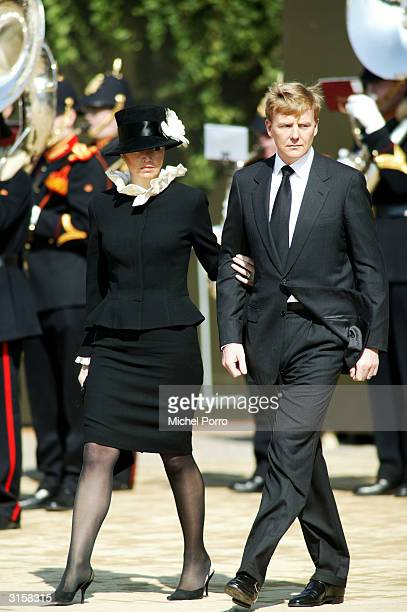 Dutch Prince Willem Alexander and Princess Maxima leave the funeral of the Queen Mother Princess Juliana at Nieuwe Kerk on March 30 2004 in Delft The...