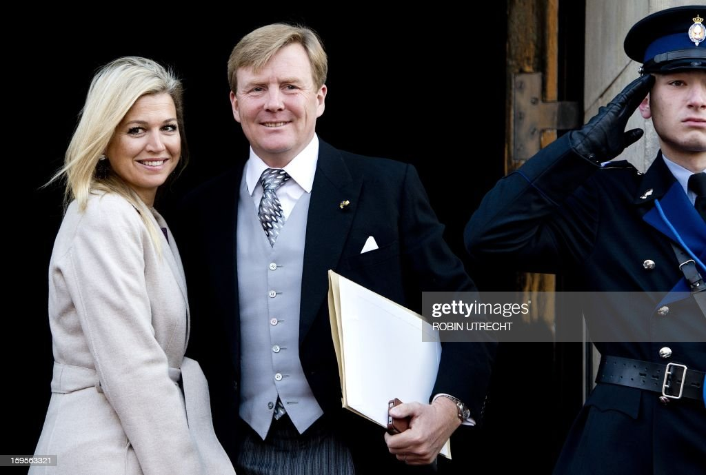 Dutch Prince Willem-Alexander and Princess Maxima arrive to take part in the Queen Beatrix's traditional New Year's reception, given for members of the diplomatic corps in the Dam Palace in Amsterdam, on January 16, 2013.