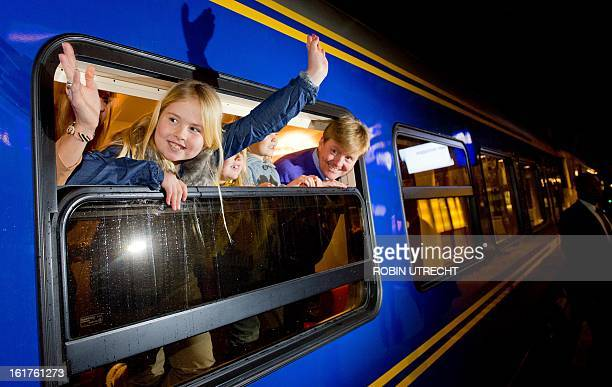 Dutch Prince WillemAlexander his wife Princess Maxima and their three daughters Princess Amalia Princess Alexia and Princess Ariane leave Amsterdam...