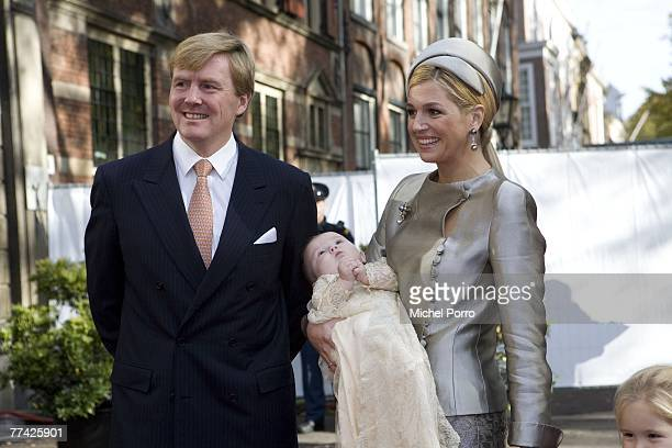 Dutch Prince WillemAlexander Princess Maxima and their children Princesses CatharinaAmalia Alexia and Ariane arrive at the Kloosterkerk for the...