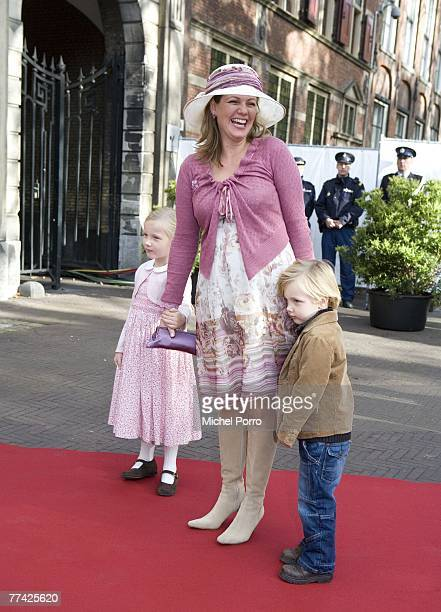 Dutch Princess Annette and her children Isabella and Samuel arrive at the Kloosterkerk for the christening ceremony of Princess Ariane on October 20...