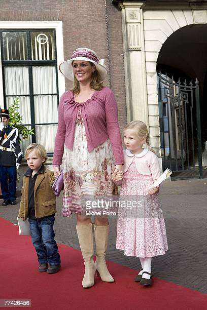 Dutch Princess Annette and her children Samuel and Isabella leave the Kloosterkerk after Dutch Princess Ariane's christening ceremony in The Hague on...