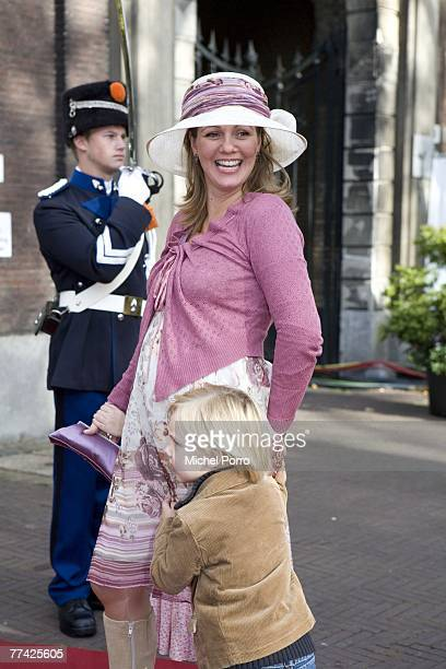 Dutch Princess Annette and her son Samuel arrive at the Kloosterkerk for the christening ceremony of Princess Ariane on October 20 2007 in The Hague...