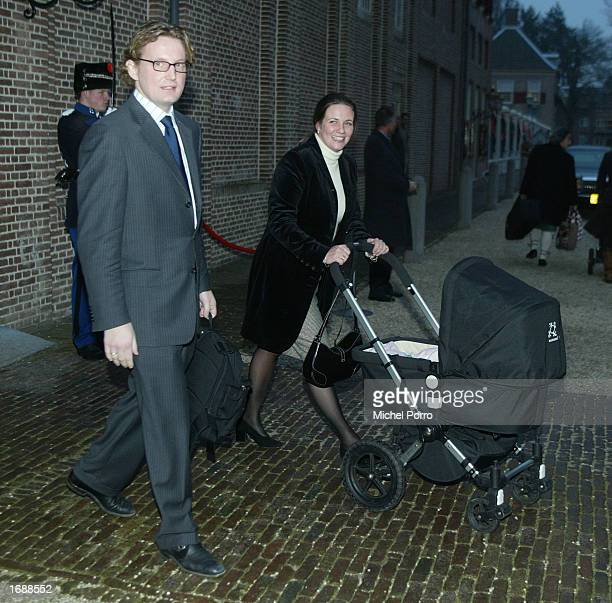 Dutch Princess Annette her husband Prince Bernard and their daughter Isabella leave the Christening ceremony of Princess Eloise Sophie Beatrix...