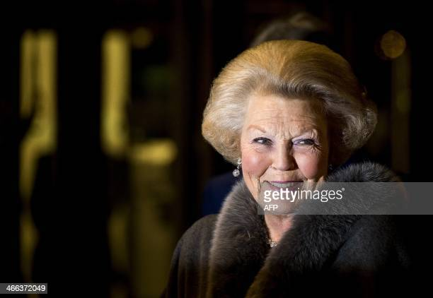 Dutch Princess Beatrix arrives at the Ahoy stadium in Rotterdam to attend a musical tribute for her 33 years of reign on February 1 2014 AFP PHOTO /...
