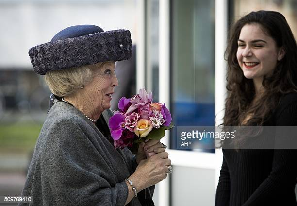 Dutch Princess Beatrix arrives for the opening of the new office of UNICEF Netherlands in The Hague, on February 12, 2016. The Princess Beatrix is...