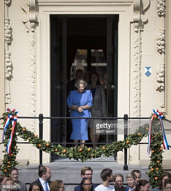 Dutch Princess Beatrix arrives on the plateau of the The Mauritshuis art museum during the 'Prinsjesdag' in The Hague on September 20 2016 Prince's...