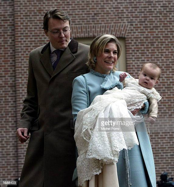 Dutch Princess Laurentien and Prince Constantijn arrive with their daughter Princess Eloise Sophie Beatrix Laurence for the Christening ceremony at...