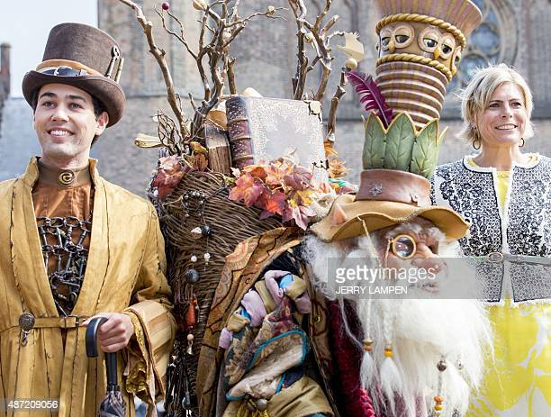 Dutch Princess Laurentien and the Sprookjessprokkelaar a fantasy character from the amusement park Efteling attend the opening of the Literacy Week...