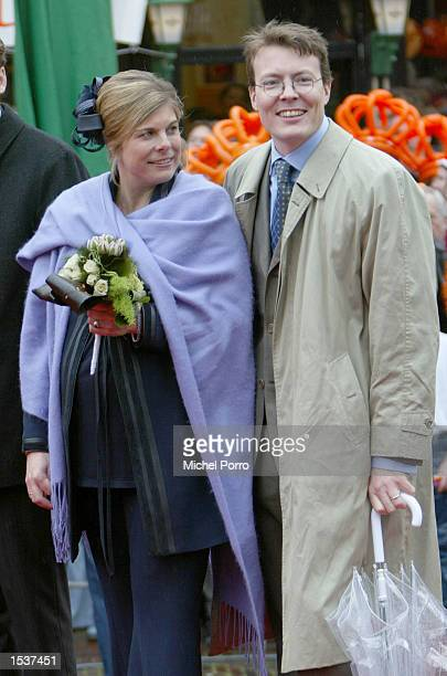 Dutch Princess Laurentien, who is expecting her first child in June, stands with her husband Prince Constantijn, the youngest son of Queen Beatrix,...