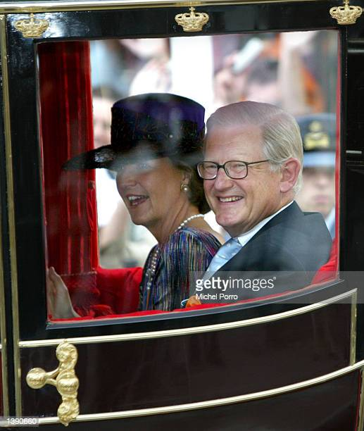 Dutch Princess Margriet and Pieter van Vollenhoven ride in a charriot after the government budget presentation ceremony during Prince's Day September...