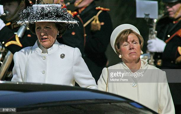 Dutch Princess Margriet and Princess Christina arrive at the funeral for the Queen Mother Princess Juliana at Nieuwe Kerk on March 30 2004 in Delft...