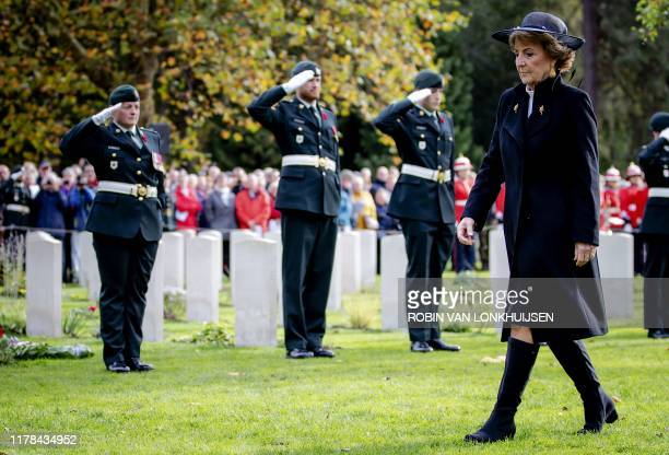 Dutch Princess Margriet attends the Memorial Day of Canada at the Canadian Cemetery of Honor in Bergen op Zoom on October 27 2019 Canada commemorates...