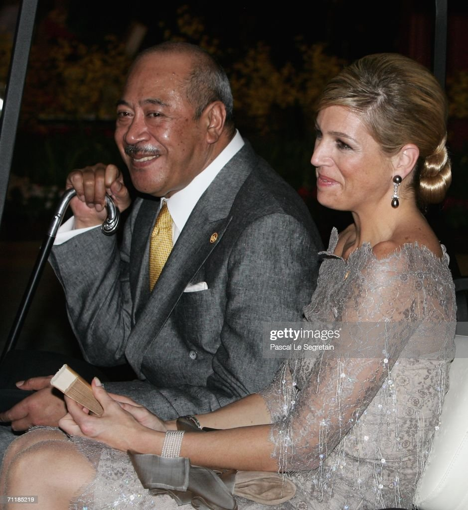 Dutch Princess Maxima (R) and Crown Prince Tupouto'a of Tonga (L) arrive at the Royal Navy Club to attend the Royal Barge Procession on June 12, 2006 in Bangkok. The king of Thailand is marking the 60th anniversary of his accession to the throne.
