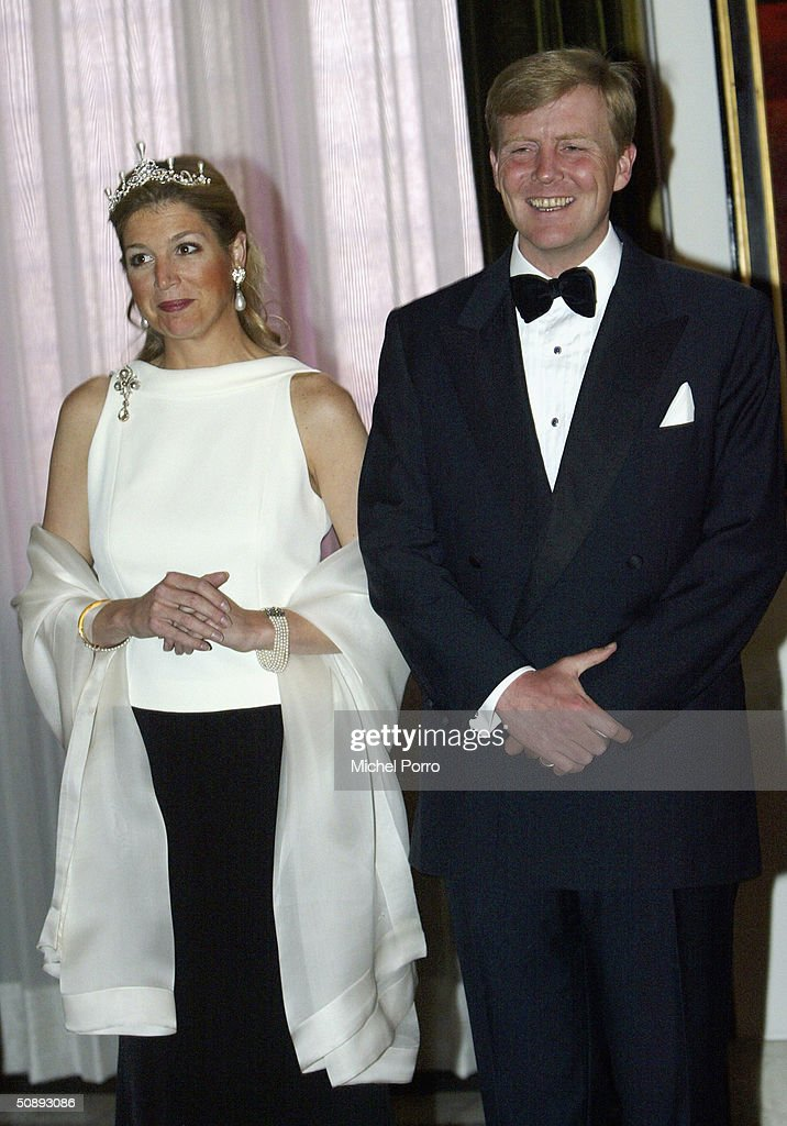 Dutch Princess Maxima and Crown Prince Willem Alexander attend a dinner held in the honor of the Swiss President Joseph Deiss and his wife at the beginning of their state visit to The Netherlands on May 24, 2004 in Amsterdam, The Netherlands.