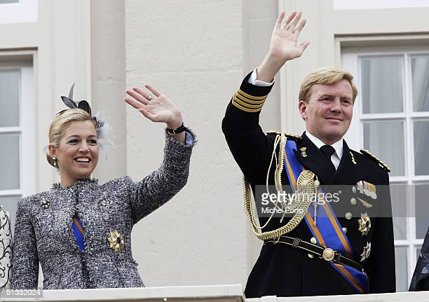 Dutch Princess Maxima and Crown Prince Willem Alexander wave from the balcony of the Noordeinde Palace during the traditional ceremony to mark the...