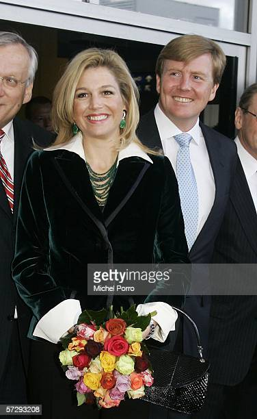 Dutch Princess Maxima and Dutch Crown Prince Willem Alexander arrive for the Black Pinochio Theatre on April 9 2006 in Amsterdam The Netherlands