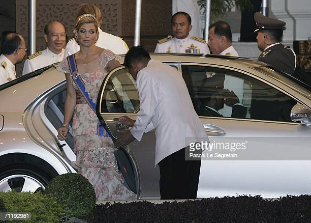 Dutch Princess Maxima arrives at the Golden Palace to attend the Royal banquet on June 13, 2006 in Bangkok. The king of Thailand is marking the 60th...