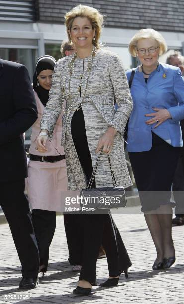 Dutch Princess Maxima arrives at the King Willem I College to attend a ceremony in which the school received a No Racism Certificate May 19, 2005 in...