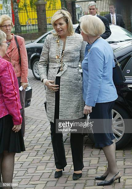 Dutch Princess Maxima arrives at the King Willem I College to attend a ceremony in which the school received a No Racism Certificate on May 19, 2005...