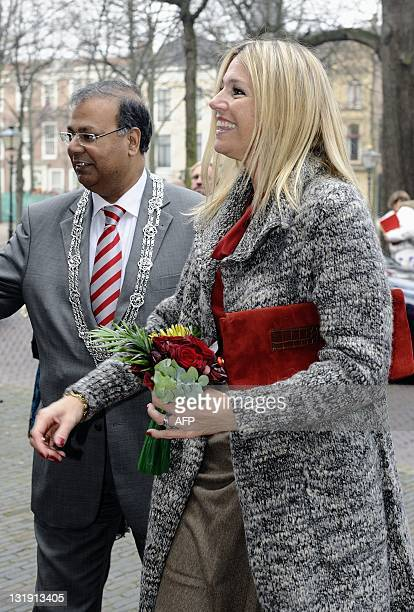 Dutch Princess Maxima arrives on November 8 2011 for the opening conference of the European Office of The Sustainability Consortium in The Hague TSC...