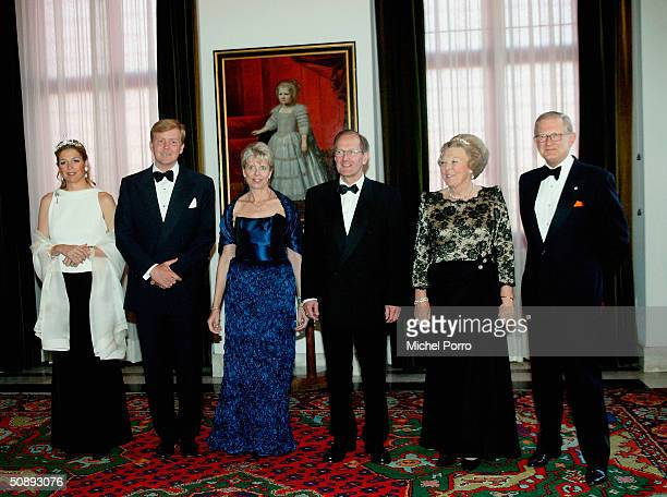 Dutch Princess Maxima Crown Prince Willem Alexander President Joseph Deiss with his wife Dutch Queen Beatrix and Pieter van Vollenhoven smile during...