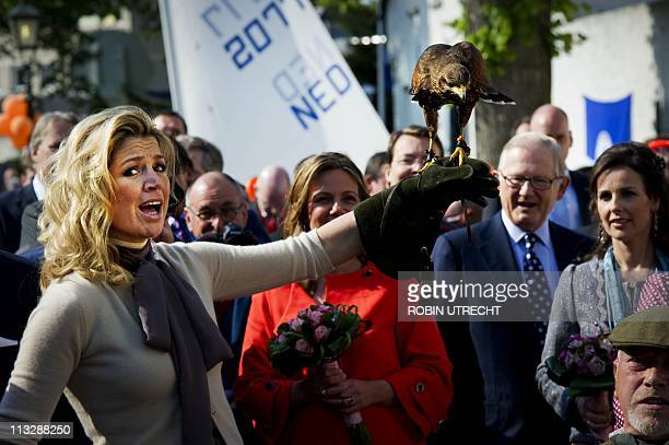 Dutch Princess Maxima holds a Harris Hawk during the Queensday celebration in Thorn on April 30 2011 AFP PHOTO/ANP/POOL/ROYAL IMAGES/ROBIN UTRECHT...