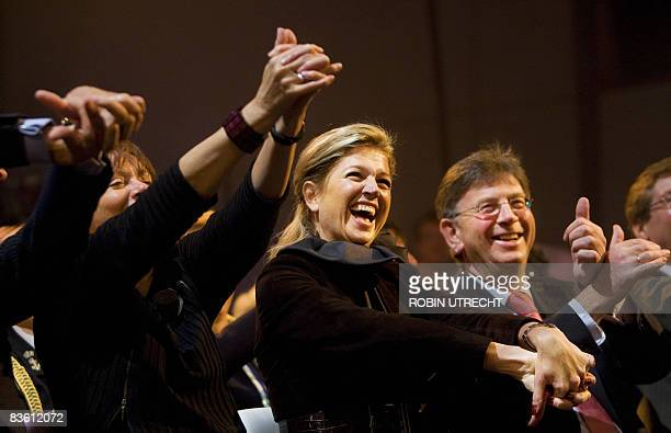Dutch princess Maxima joins in on activities organised in honour of the end of the Taalontmoetingen program on November 8 2008 in Utrecht AFP...