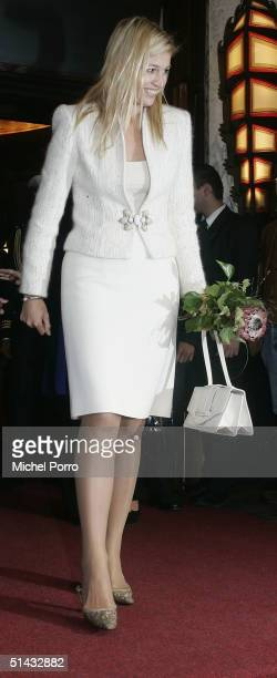 Dutch Princess Maxima leaves the premiere of the Dutch film Sea Yourself at the Tushinksy Theatre on October 6 2004 in Amsterdam Netherlands