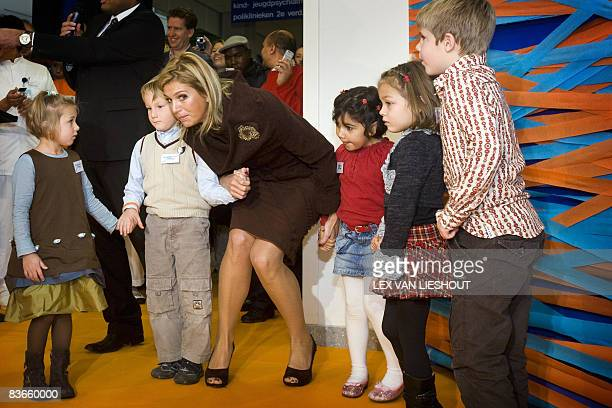 Dutch Princess Maxima listens to children at the Sophia Children's Hospital in Rotterdam where she opened a resarch center for the Generation R...