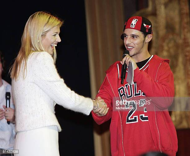 Dutch Princess Maxima meets with rapper Ali B while attending the premiere of the Dutch film 'Sea Yourself' at the Tushinksy Theatre on October 6...