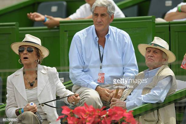 Dutch Princess Maxima parents Maria del Carmen Cerruti and Jorge Zorraigueta during the Argentina-Netherlands first round Davis Cup tie on March 8,...