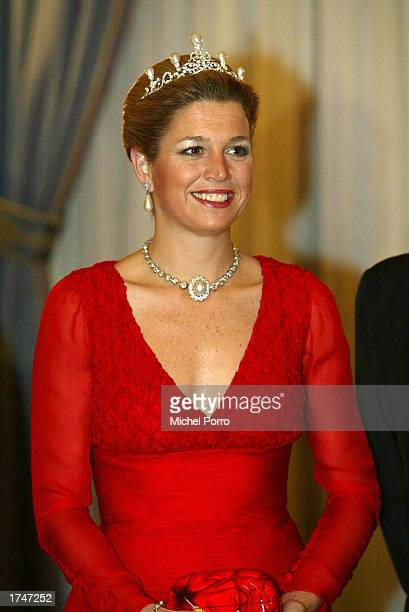 Dutch Princess Maxima poses for a photo before a state banquet for Mexican President Vicente Fox January 27, 2003 at the Noordeinde Palace in The...