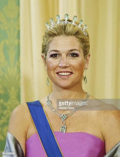 Dutch Princess Maxima poses in a group photo with the Grand Duke of Luxemburg at the Noordeinde Palace in The Hague the Netherlands April 24 2006...
