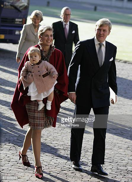 Dutch Princess Maxima Prince Willem Alexander and their daughter Princess Amalia attend the Royal Christening of Claus Casimir Bernhard Marius Max...