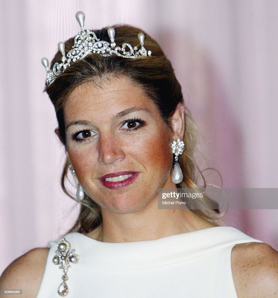 Dutch Princess Maxima smiles during a group photo with visiting Swiss President Joseph Deiss May 24, 2004 in Amsterdam, The Netherlands.