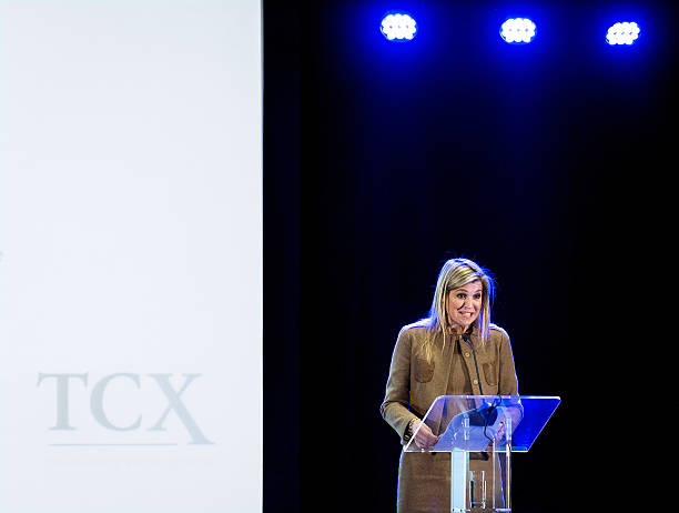 Dutch Princess Maxima speaks at a conference on The Currency