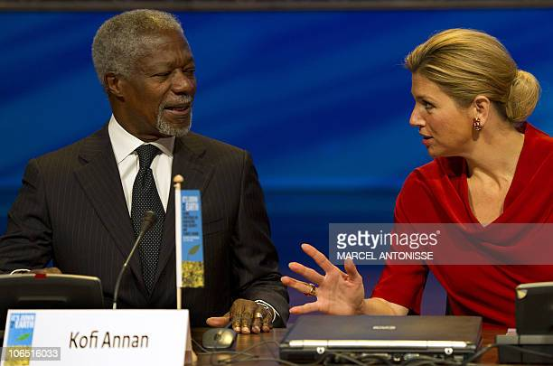 Dutch princess Maxima talks to former UN Secretary General Kofi Annan during a global conference on agriculture food security and climate change...