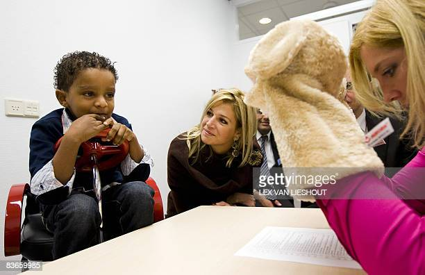 Dutch Princess Maxima talks with children at the Sophia Children's Hospital in Rotterdam where she opened a resarch center for the Generation R...