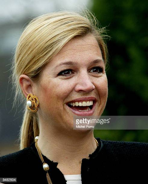Dutch Princess Maxima visits a multicultural social project at a school on April 21 2004 in Boxtel The Netherlands