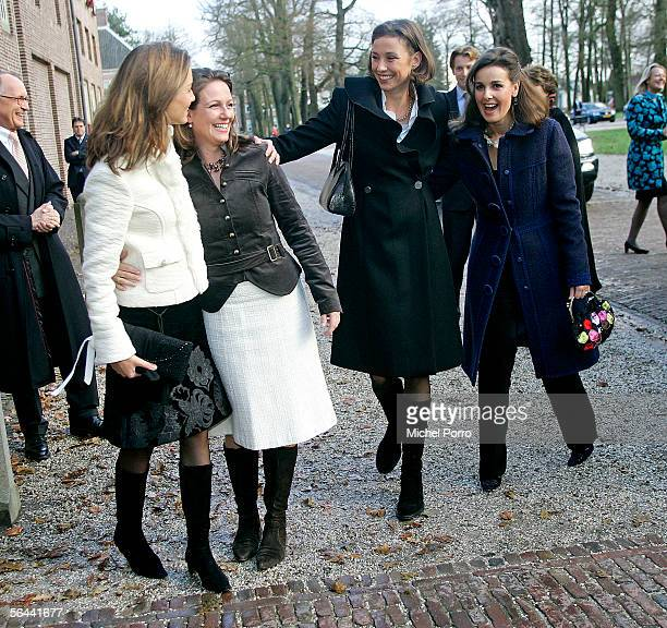 Dutch Princesses Aimee Annette Marilene and Anita arrive to visit a royal wedding dress exhibition at the Loo Palace on December 16 2005 in Apeldoorn...