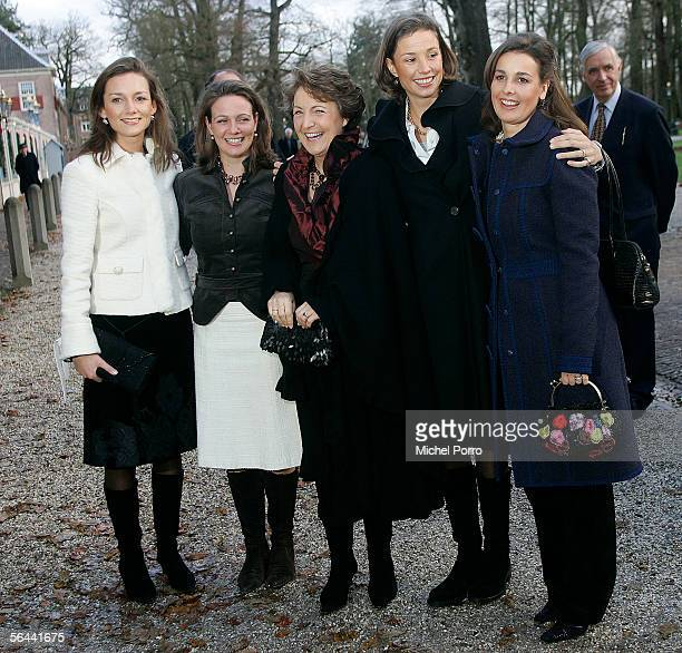 Dutch Princesses Aimee Annette Marilene Annette and Anita arrive to visit a royal wedding dress exhibition at the Loo Palace on December 16 2005 in...
