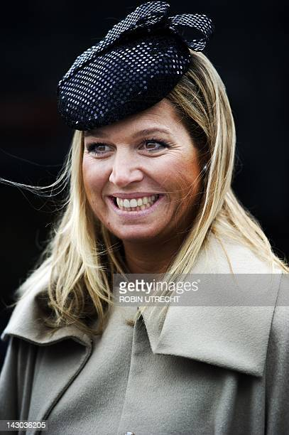 Dutch Prinses Maxima smiles during her visit along with the Turkish President and his wife to the Weekend Academy in Talentenhuis in Amsterdam on...