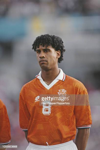 Dutch professional footballer Frank Rijkaard midfielder with AC Milan posed prior to playing for the Netherlands national team in the UEFA Euro 1992...