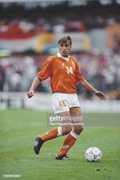 Dutch professional footballer Rob Witschge midfielder with Feyenoord pictured in action playing for the Netherlands national team in their group 2...