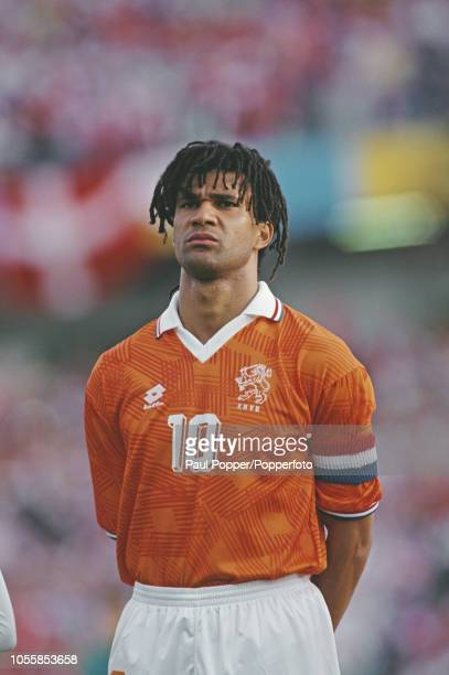 Dutch professional footballer Ruud Gullit midfielder/forward with AC Milan posed prior to playing for the Netherlands national team in the UEFA Euro...