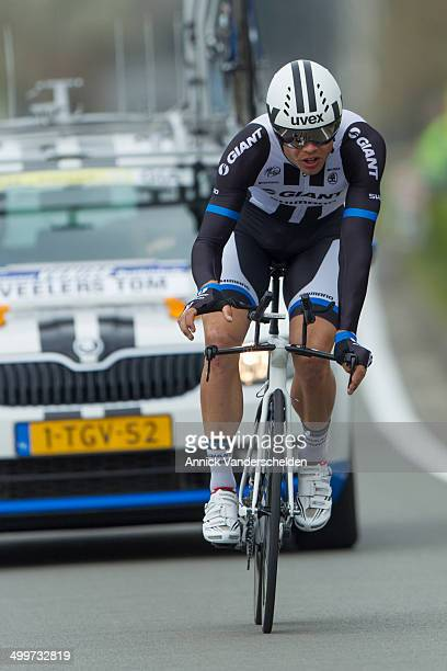Dutch professional road bicycle racer for UCI Pro Team Giant-Shimano. Time trial race during Three days of De Panne 2014. Bicycle racing.